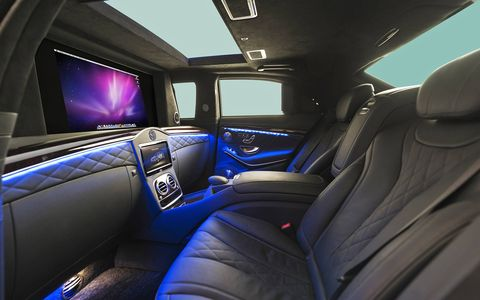 The interior features a powered partition and many luxury amenities.