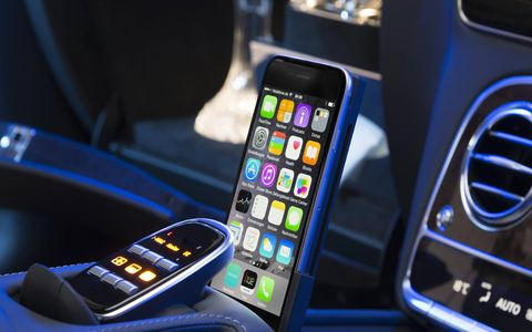 The infotainment system offers Apple devices.