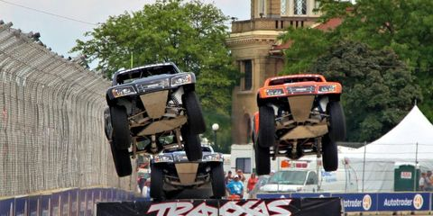The Super Trucks were flying in front of the casino on the Raceway on Belle Isle Friday afternoon in Detroit.