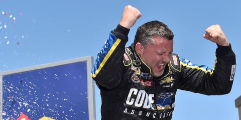 Tony Stewart celebrates his eighth career road-course victory in the NASCAR Sprint Cup Series on Sunday at Sonoma.