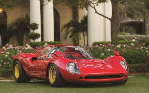 1965 Ferrari 166 P / 206 SP Dino 0834: Cavallino Classic Having most recently won the coveted Scuderia Ferrari Cup for Best of Show at the Cavallino Classic, this one-of-a-kind Dino was first entered by Scuderia Ferrari in 1965 and raced by Giancarlo Baghetti and later by Ludovico Scarfiotti to many wins over its long history.