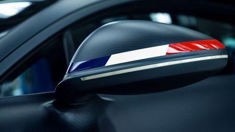 The Bugatti Chiron Sport '110 Ans Bugatti' celebrates 110 years of the company name.