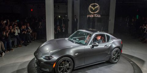 Mazda unveiled the MX-5 RF at the New York auto show.