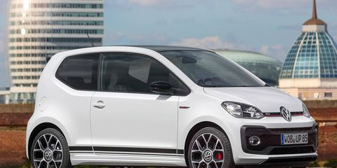 The GTi version of the Up! pumps out 113 hp courtesy of a 1.0-liter three-cylinder.