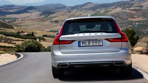 The 2019 Volvo V90 comes with either a 250-hp turbocharged four or a 316-hp turbo and supercharged four.