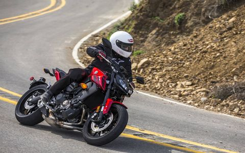 The Yamaha FZ-09 gets a new look for 2017 as well as  ABS, fully adjustable traction control and fully adjustable front forks. But it still carries the fantastically fun 847-cc triple that'll have you doing wheelies of joy all day long.