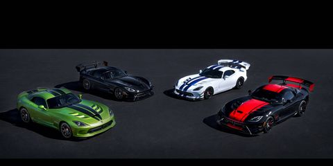 With four of the five final edition Dodge Vipers shown, it reminds us that the Viper's end is near.