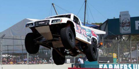 E.J. Viso won Friday morning's Stadium Super Trucks opener in Australia after starting sixth.