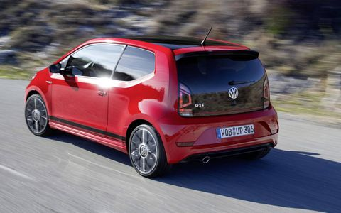 The 2018 Volkswagen Up GTI comes with a 1.0-liter three-cylinder making 114 hp and 147 lb-ft of torque.
