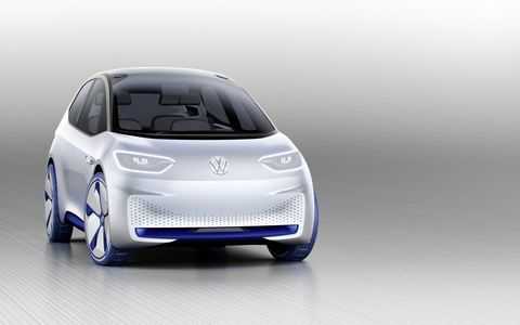 The Volkswagen I.D. concept promises a range of nearly 375 miles by 2020 and an autonomous drive mode by 2025; the concept is part of the German automaker's big push into electric vehicles.