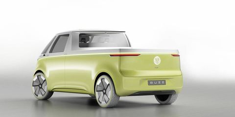VW may greenlight several variants of the upcoming ID Buzz microbus, including pickup versions, as seen in our rendering.