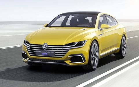 The 2015 Volkswagen Sport Coupe Concept GTE rides on the MQB platform.