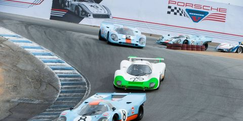 917s and a 910 thread the Corkscrew during Rennsport Reunion V