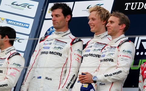 Porsche's Timo Bernhard, Mark Webber and Brandon Hartley won in Germany on Sunday in the World Endurance Championship's first race in Germany.