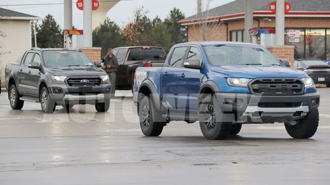 This 2019 Ford Ranger Wildtrak pickup was spotted testing on United States soil alongside a Ranger Raptor. Ford has not confirmed whether the Wildtrak -- which gets features like 18-inch alloy wheels, additional ground clearance compared to the stock Ranger and a retractable tonneau cover -- will be sold in America, but the Ranger goes on sale here in the first quarter of 2019.