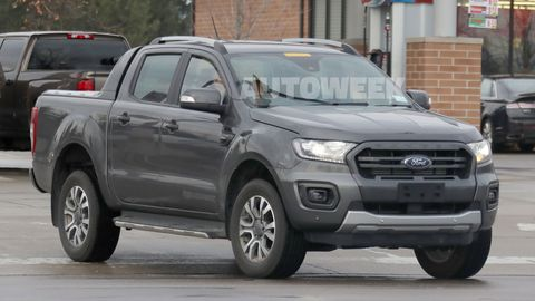 This 2019 Ford Ranger Wildtrak pickup was spotted testing on United States soil alongside a Ranger Raptor. Ford has not confirmed whether the Wildtrak -- which gets features like 18-inch alloy wheels, additional ground clearance compared to the stock ranger and a retractable tonneau cover -- will be sold in America, but the the Ranger goes on sale here in the first quarter of 2019.