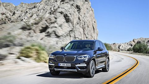 BMW X3 -- The BMW X3 is a small sport utility vehicle with premium appointments and a price tag to match. The xDrive 30i is the base X3; above that is the M40i, which eschews a turbo four making 248 hp for a turbo six producing 355 horsepower. Either one comes standard with AWD. And, as you probably guessed, the xDrive30i beats the M40i on fuel economy with 22 city, 29 highway, 25 combined versus 20/27/23.