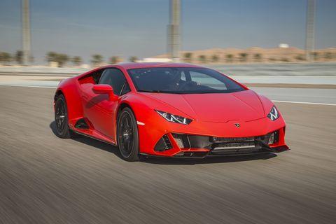 2020 Lamborghini Huracan Evo on track Lit by the setting sun
