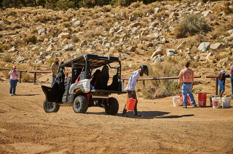 Yamaha donates a portion of its profits to help keep off-road areas open to the public through the Yamaha Outdoor Access Initiative, which celebrates ten years in 2018. Here are volunteers from the company doing maintenance work at Cactus Flats in Southern California.