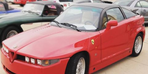 Here's something you won't see at an Italian car show in the States: Alfa Romeo SZ and RZ, built between 1989 and 1991.