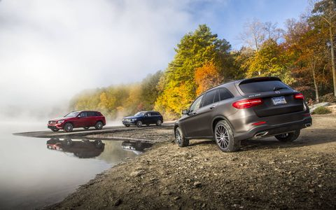 The GLC is available in more than just silver: though, the optional colors are kind of expensive. Present are examples of Magno Brown and Cardinal Red. The blue color is standard.