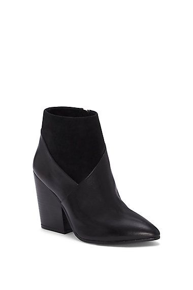vince camuto suede and leather raylan pointed toe ankle boot