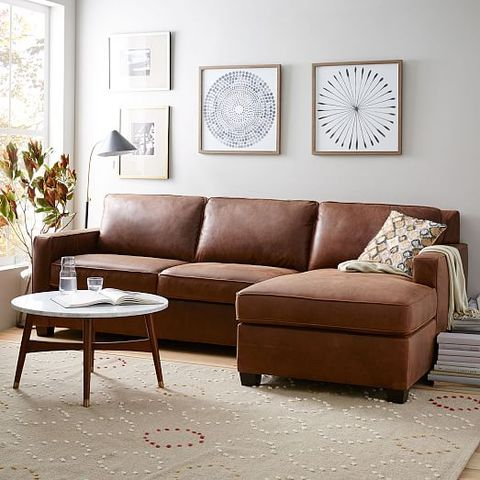 west elm henry leather 2 piece chaise sectional