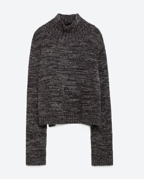 gray marl cropped sweater by zara, made from an acrylic, nylon, and wool blend.