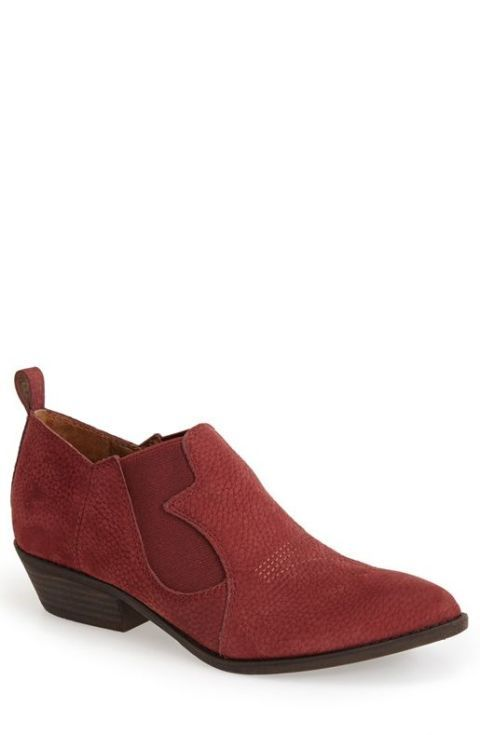 lucky brand western, leather slip-on bootie in ruby wine nubuck.