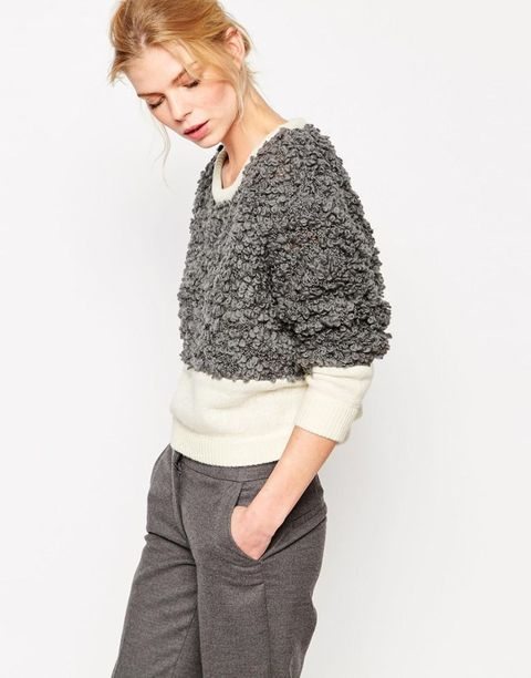 Shae Soft Wool Boucle Blocked Sweater  in gray