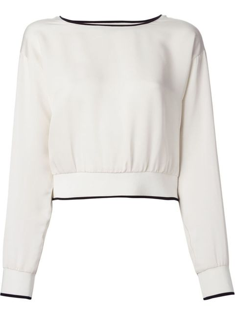 white cropped sweater with navy blue trim by theory