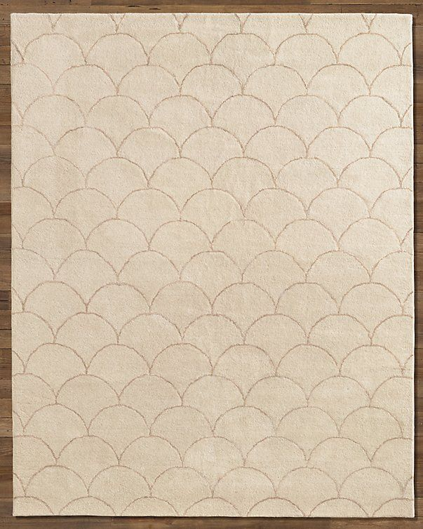 restoration hardware beige scalloped wool rug