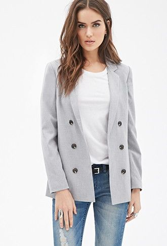 Contemporary boyfriend blazer in grey with black front-buttons by Forever 21.