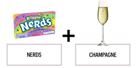 "<p>Breitzkreutz recommends pairing Nerds with a demi-sec champagne (i.e. a sweet champagne.) ""The fruity flavors get a boost with some bubbles,"" he says. That's all we needed to hear.</p><p><strong>Recommended wines: </strong><span class=""redactor-invisible-space"">Charles Heidsieck Vintage Brut 2000 or Laurent-Perrier Brut Champagne 2006 </span></p>"