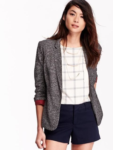 Jersey blazer in heather gray by Old Navy.