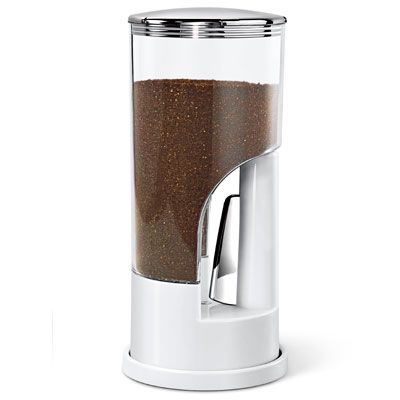 """<p>A storage container and gadget in one, this sleek contraption is designed to keep your ground coffee fresh and dispense the right amount for a perfect cup, every time. If you grind your own beans, this will save you time by still giving you the fresh-tasting coffee you crave without requiring you to grind beans every day. Each squeeze ejects exactly one tablespoon of ground coffee, so instead of measuring, just remember how many squeezes go into your perfect cup of java.</p> <p><a href=""""http://www.zevro.com/coffee-dispenser/"""" target=""""_blank"""">zevro.com</a></p>"""