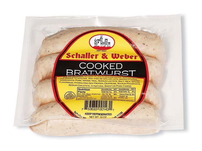 schaller & weber cooked bratwurst