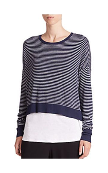 Eileen Fisher Striped Cropped Sweater