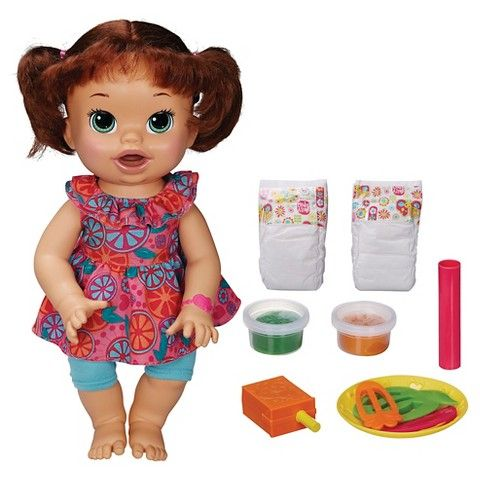 baby alive super snacks snackin' sara brunette doll