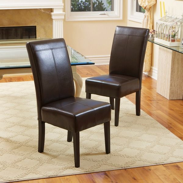 Overstock Christopher Knight Home T Stitch Chocolate Brown Leather Dining  Chairs