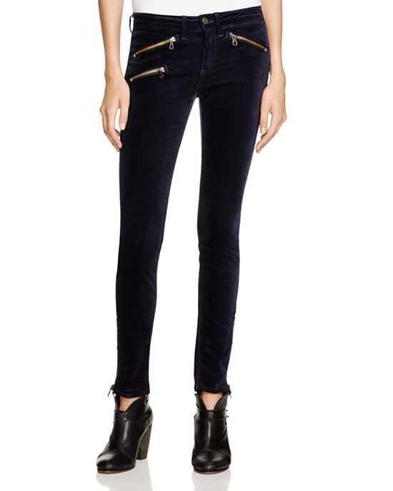 rag and bone mid rise zip leggings in navy velvet