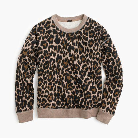 j. crew crewneck sweatshirt in leopard print