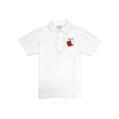 peanuts x lacoste snoopy white polo