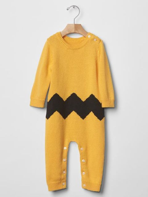 baby gap and peanuts yellow chevron sweater one-piece