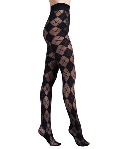 alice and olivia pretty polly semi sheer tights in argyle