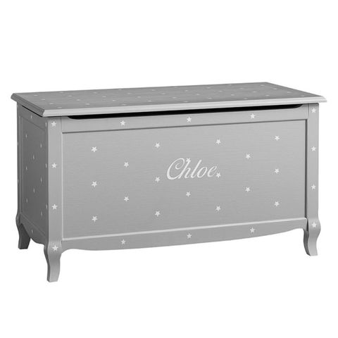 Pottery Barn Kids Claudia Toy Chest Vintage Soft Grey Stars