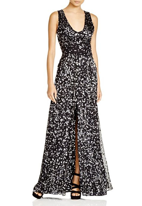 parker black sleeveless printed gown