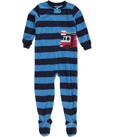 carter's 1-piece fleece pjs blue stripe red fire truck