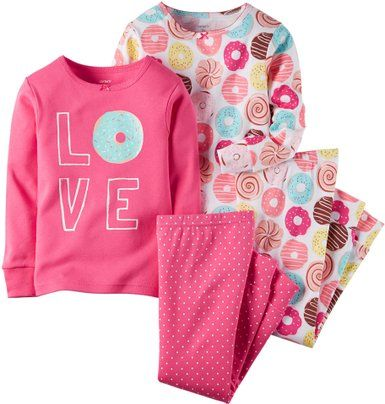carter's little girls 4 piece pj set donuts
