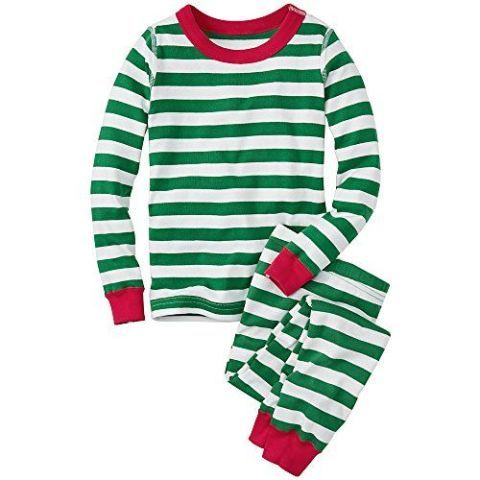 hanna andersson long john pajamas in organic cotton tree green stripe